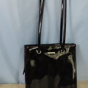 Black Patent Leather Like Tote By Connections